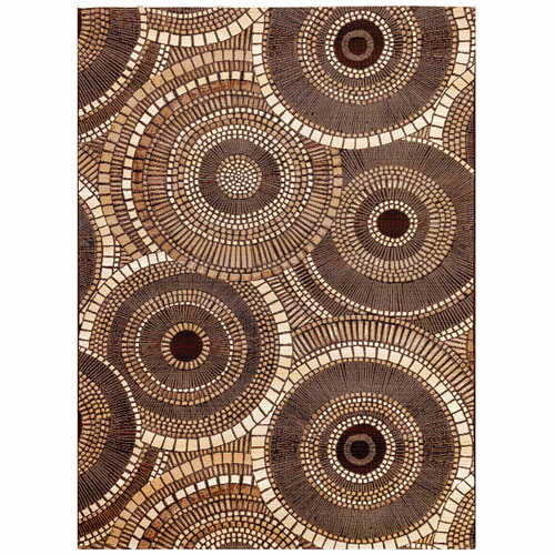 Marina Brown Rectangular Circles Outdoor Rug