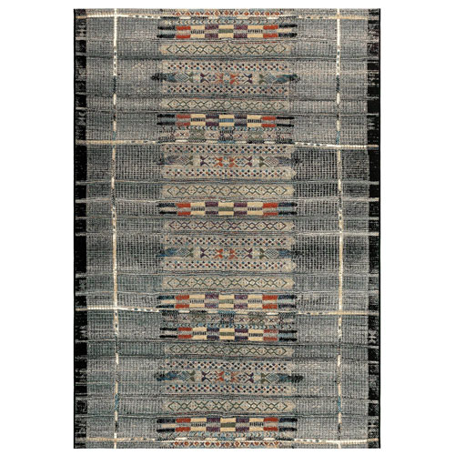 Marina Black Rectangular Tribal Stripe Outdoor Rug
