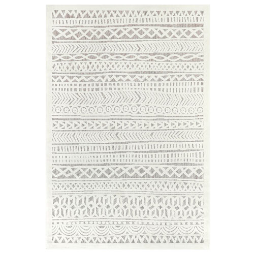 Rialto Ivory Tribal Stripe Indoor/Outdoor Rug
