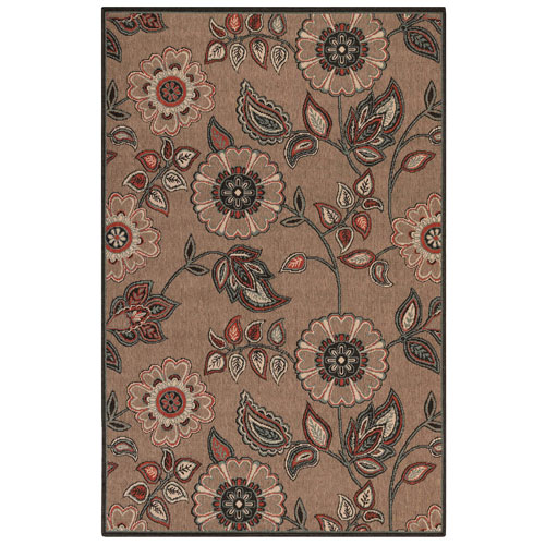 Riviera Tan Rectangular Floral Vine Outdoor Rug