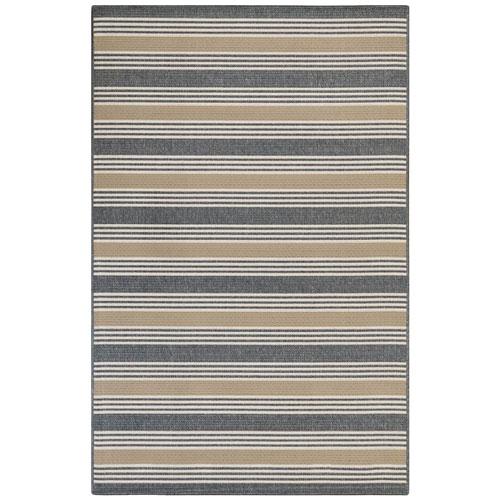 Riviera Navy Rectangular Stripe Outdoor Rug