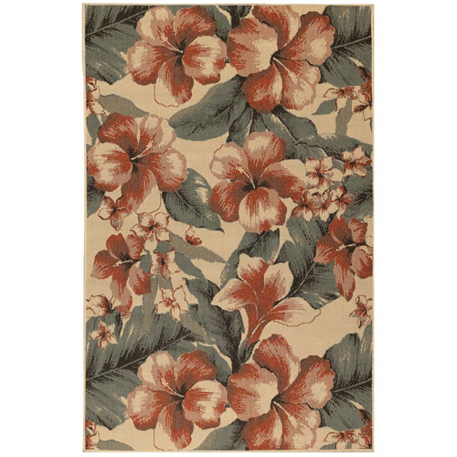 Riviera Sisal Rectangular 6 Ft. 6 In. x 9 Ft. 3 In. Tropical Flower Outdoor Rug