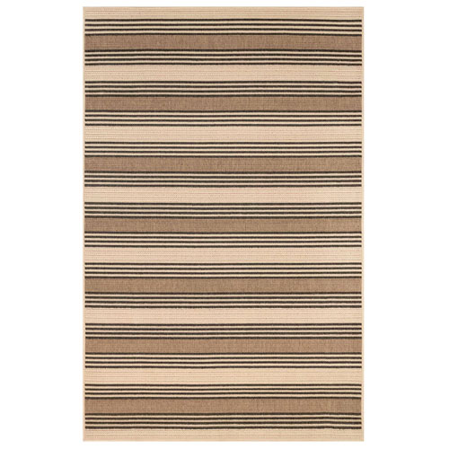 Riviera Tan Rectangular Stripe Outdoor Rug