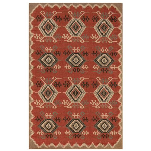 Riviera Red Rectangular Kilim Outdoor Rug