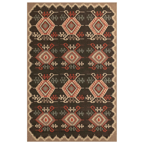 Riviera Black Rectangular Kilim Outdoor Rug