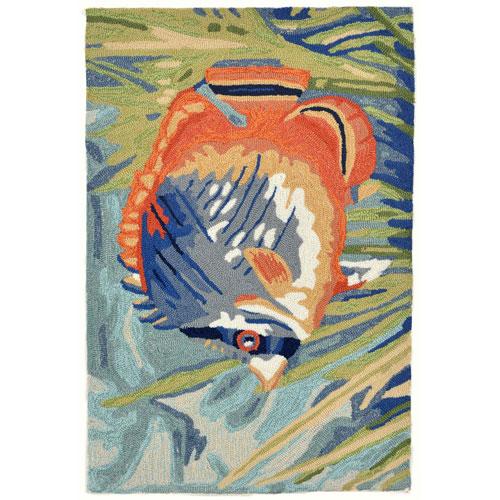 Ravella Blue Rectangular Tropical Fish Outdoor Rug