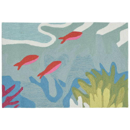 Ravella Ocean Rectangular 30 In. x 48 In. Ocean View Outdoor Rug