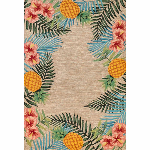 Ravella Blue Rectangular 7 Ft. 6 In. x 9 Ft. 6 In. Tropical Outdoor Rug