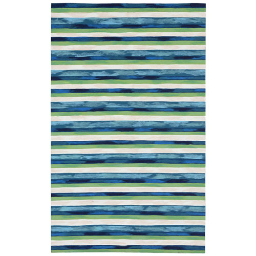 Visions II Cool Rectangular Painted Stripes Outdoor Rug