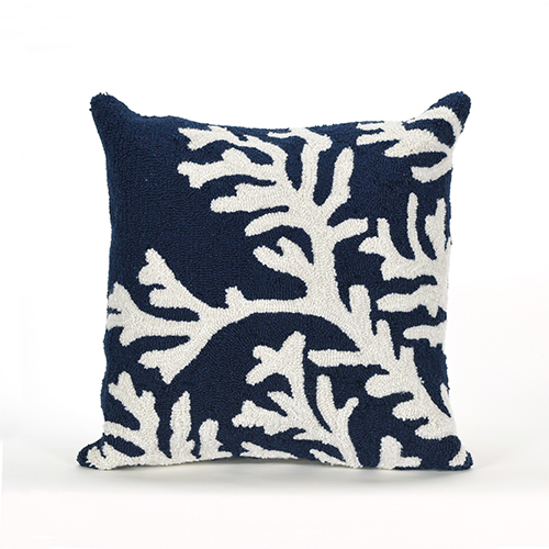 Trans Ocean Import Liora Manne Frontporch Blue Square 18 In. Indoor/Outdoor Pillow