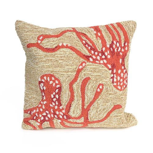 Liora Manne Frontporch Orange Square 18 In. Indoor/Outdoor Pillow