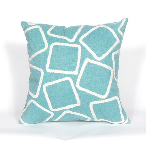 Trans Ocean Import Liora Manne Visions I Blue Square 20 In. Indoor/Outdoor Pillow