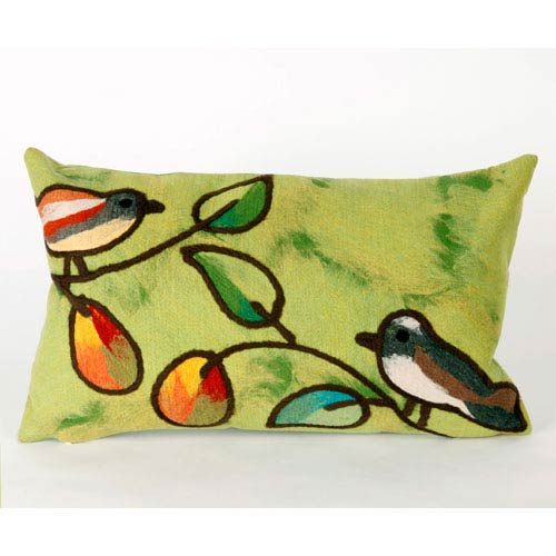 Song Birds Green Pillow