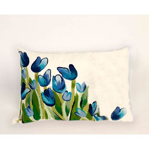 Trans Ocean Import Allover Tulips Blue Pillow