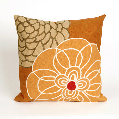 Liora Manne Visions III Orange Square 20 In. Indoor/Outdoor Pillow