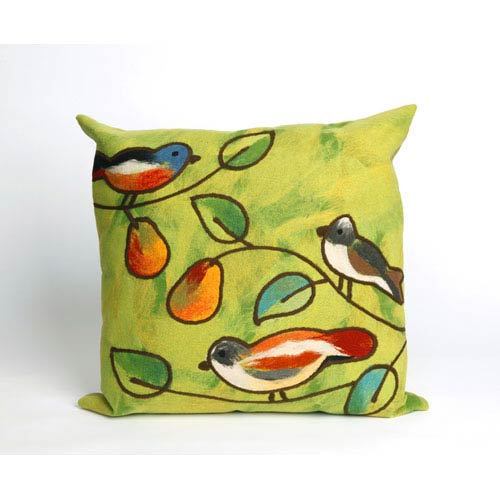 Song Birds Green Pillow