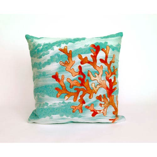 Trans Ocean Import Coral Wave Aqua Pillow