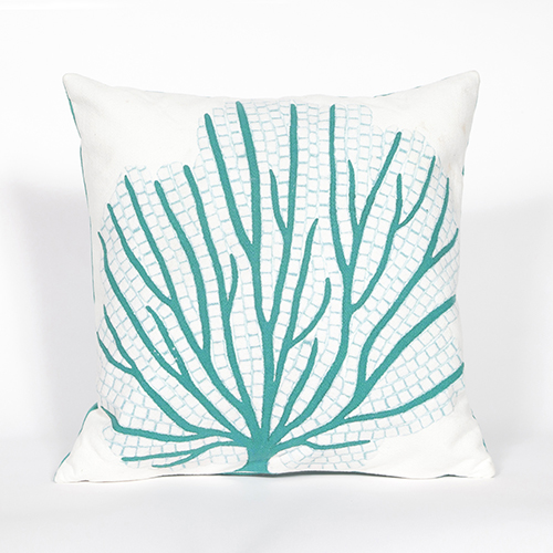 Trans Ocean Import Liora Manne Visions III Blue Square 20 In. Indoor/Outdoor Pillow