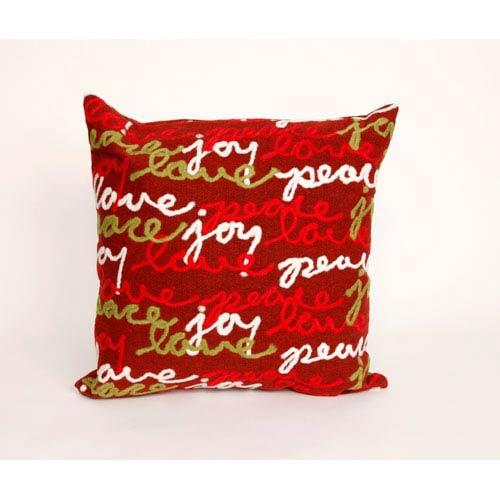 Trans Ocean Import Peace Love Joy Red Pillow