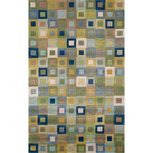 Square In Square Ocean Rectangular: 5 Ft. x 7 Ft. 6 In. Rug