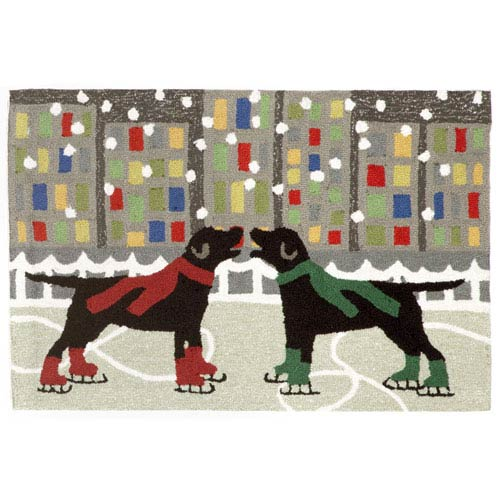 Trans Ocean Import Frontporch Holiday Ice Dogs Multicolor Rectangular: 2 Ft 6 In x 4 Ft Rug