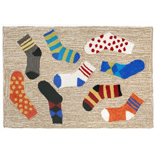 Frontporch Lost Socks Neutral Rectangular: 1 Ft 8 In x 2 Ft 6 In Rug