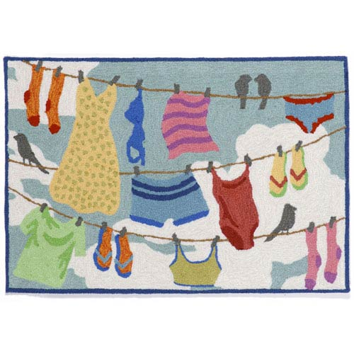 Trans Ocean Import Frontporch Clothes Line Multicolor Rectangular: 1 Ft 8 In x 2 Ft 6 In Rug