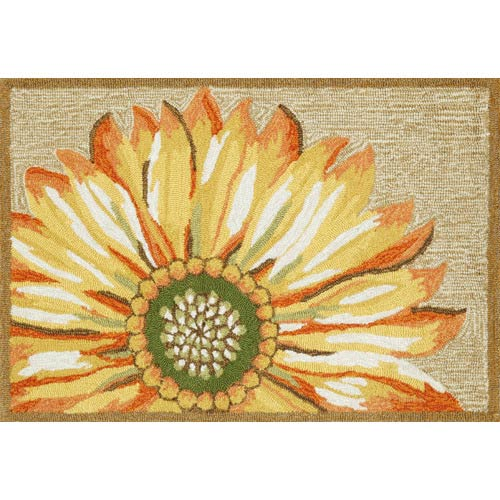 Trans Ocean Import Frontporch Sunflower Yellow Rectangular: 2 Ft. x 3 Ft. Indoor/Outdoor Rug