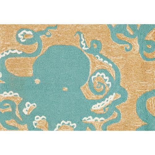 Frontporch Octopus Aqua Rectangular: 2 Ft. x 3 Ft. Indoor/Outdoor Rug