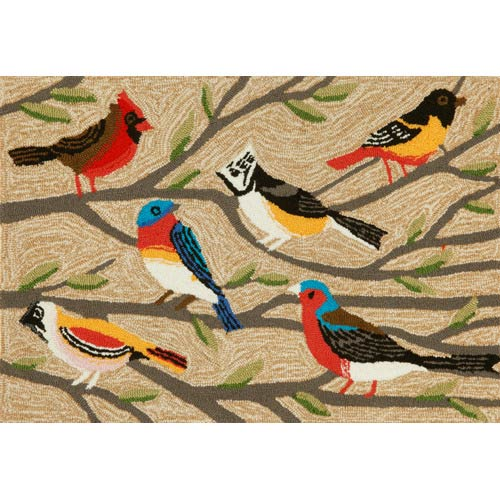 Trans Ocean Import Frontporch Birds Neutral Rectangular: 2 Ft. x 3 Ft. Indoor/Outdoor Rug