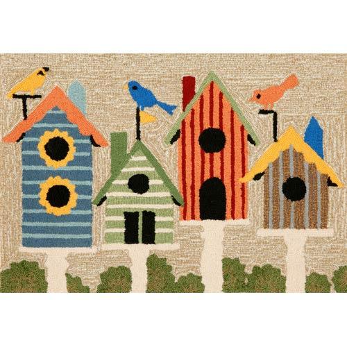 Frontporch Birdhouses Neutral Rectangular: 2 Ft. x 3 Ft. Indoor/Outdoor Rug