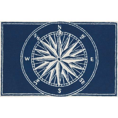 Frontporch Compass Navy Rectangular: 2 Ft. x 3 Ft. Indoor/Outdoor Rug