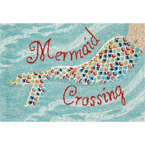Trans Ocean Import Frontporch Mermaid Crossing Aqua Rectangular: 2 Ft. x 3 Ft. Indoor/Outdoor Rug