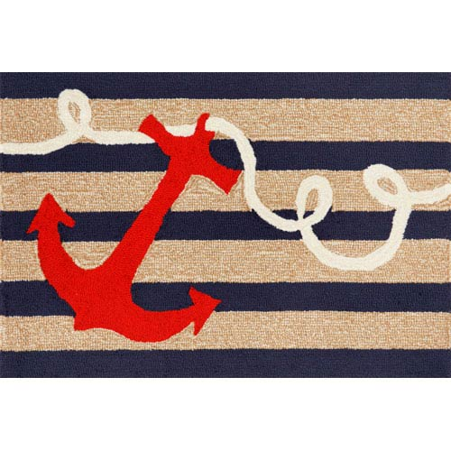 Frontporch Anchor Navy Rectangular: 2 Ft. 6 In. x 4 Ft. Rug