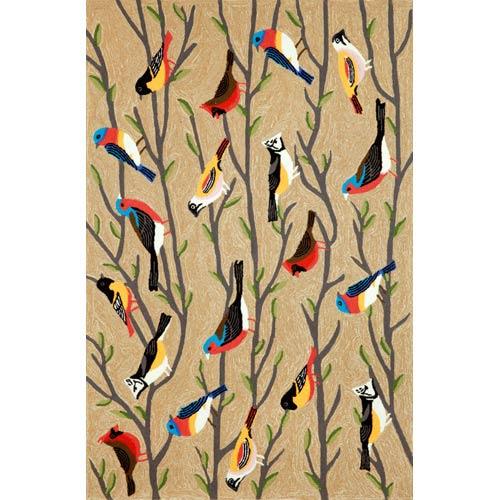 Trans Ocean Import Frontporch Birds Neutral Rectangular: 5 Ft. x 7 Ft. 6 In. Indoor/Outdoor Rug