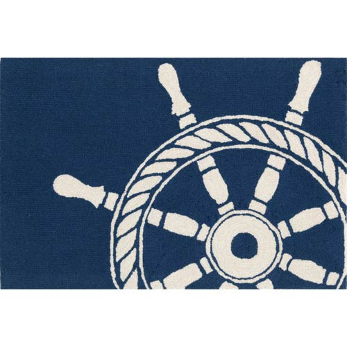 Trans Ocean Import Frontporch Ship Wheel Navy Rectangular: 5 Ft. x 7 Ft. 6 In. Indoor/Outdoor Rug