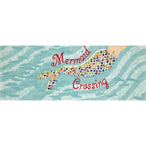 Frontporch Mermaid Crossing Aqua Rectangular: 2 Ft. 3 In. x 6 Ft. Indoor/Outdoor Rug