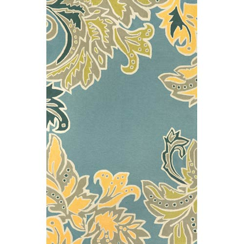 Ravella Ornamental Leaf Border Light Blue Rectangular: 5 Ft. x 7 Ft. 6 In. Indoor/Outdoor Rug
