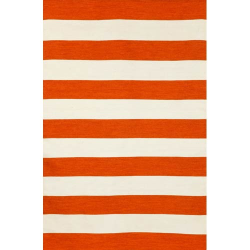 Trans Ocean Import Sorrento Indoor/Outdoor Rugby Stripe Paprika Rectangular: 5 Ft. x 7 Ft. 6 In. Indoor/Outdoor Rug