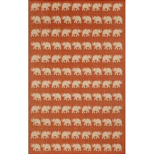 Terrace Elephants Terracotta Rectangular: 4 Ft. 11 In. x 7 Ft. 6 In. Indoor/Outdoor Rug