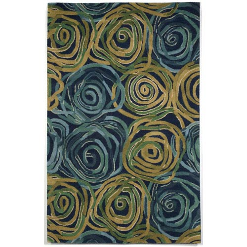 Trans Ocean Import Tivoli Rambling Rose Navy Rectangular: 3 Ft 6 In x 5 Ft 6 In Rug