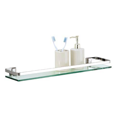 Bath Set of Six Glass Bath Shelves with Rail