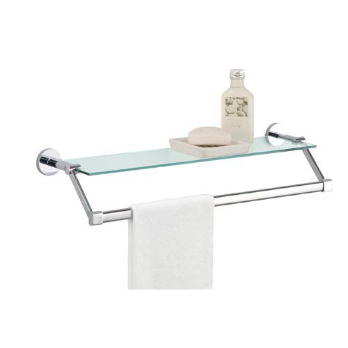 Glass Bath Shelf with Towel Bar