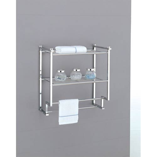 Metro Chrome Two Tier Wall Mounting Rack With Towel Bars