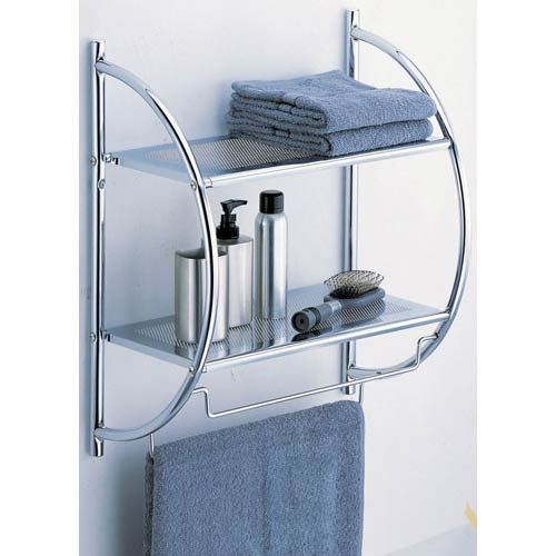 Chrome Wall Mounting Two Tier Shelf With Towel Bars
