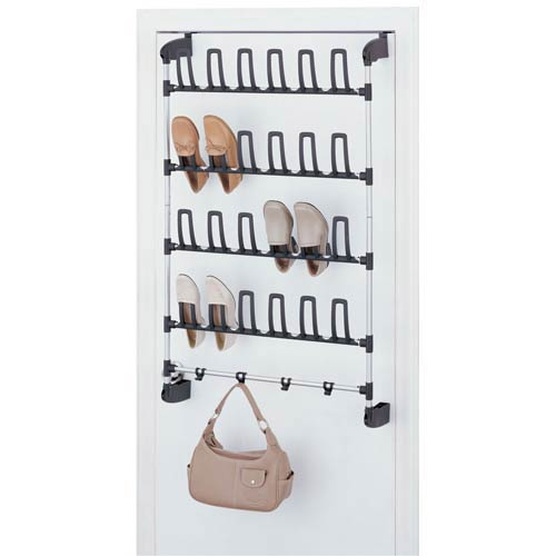 Organize It All Black and Silver Overdoor 12 Pair Shoe Rack with Hook