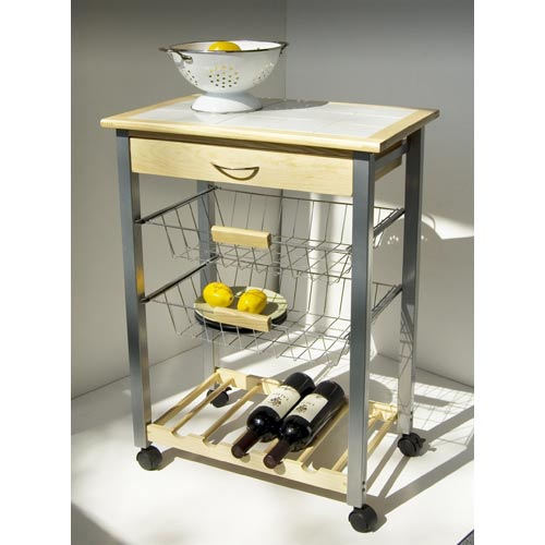 Kitchen Kitchen Cart with Two Baskets