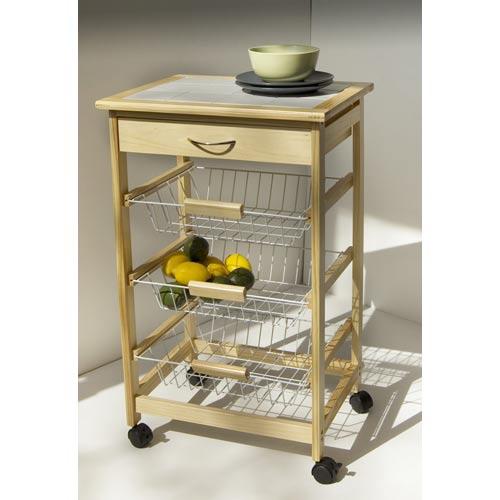 Kitchen Cart with Three Baskets