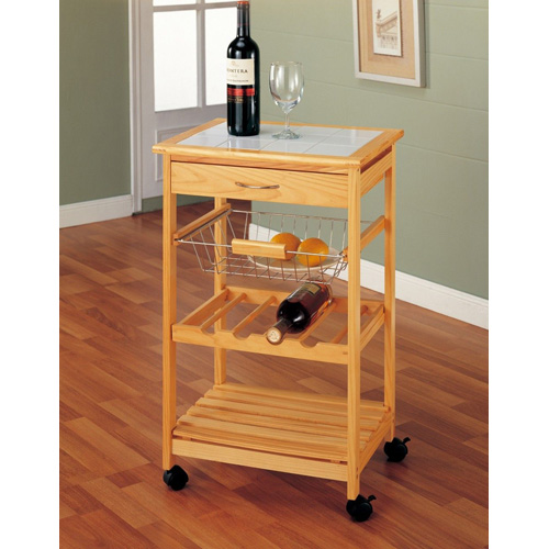 Natural Kitchen Cart with Basket and Wine Rack