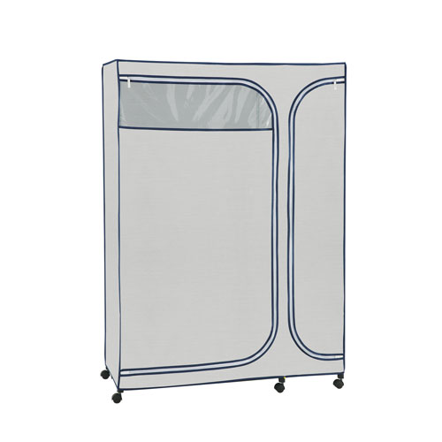 Twilight Grey and Pattern Blue Accent Storage Armoire